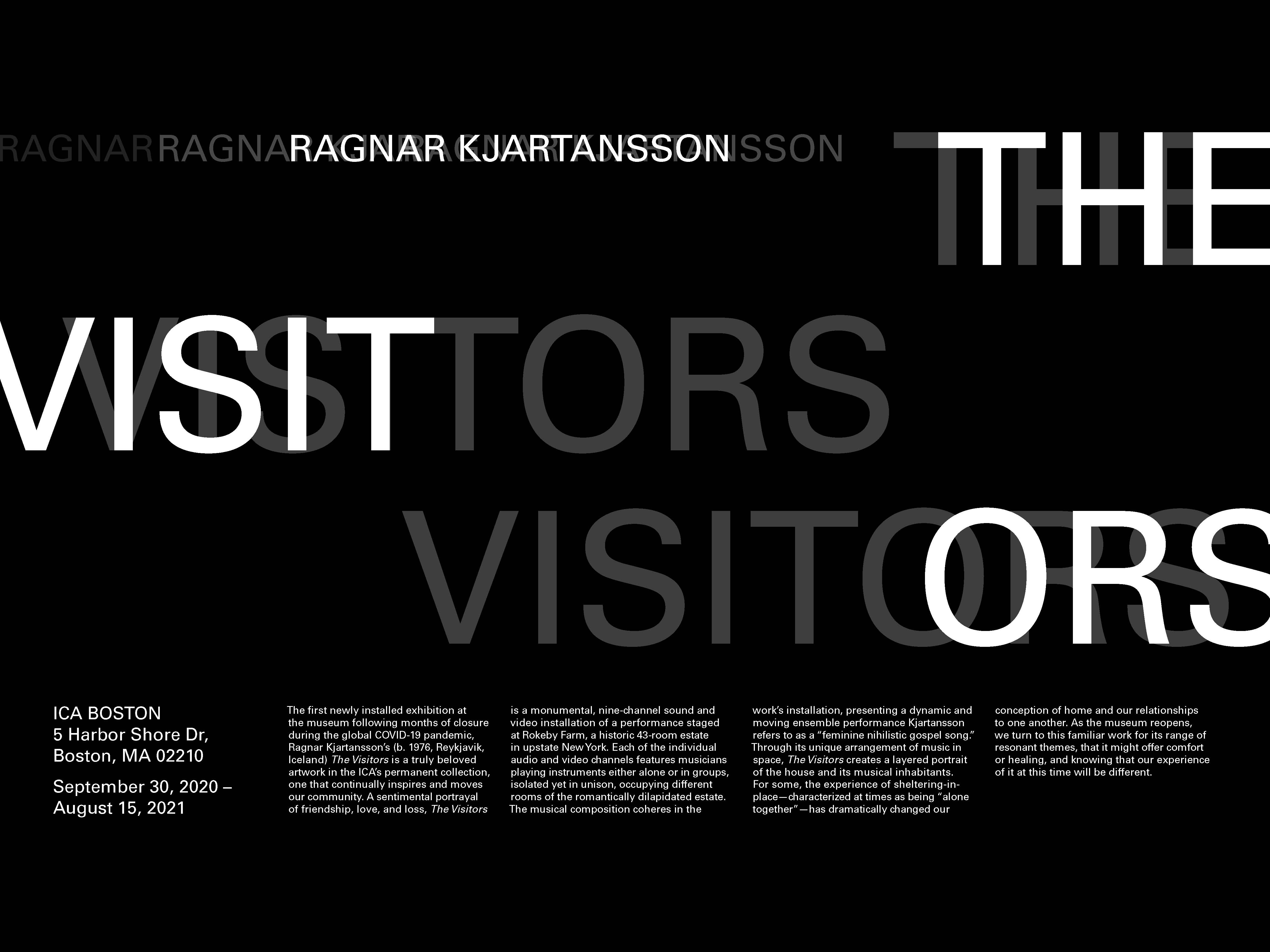 poster for ICA's show The Visitors.                  The words The Visitors is written in large white text over a black background