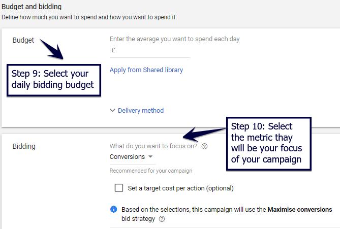 Select daily bid budget and focus metric