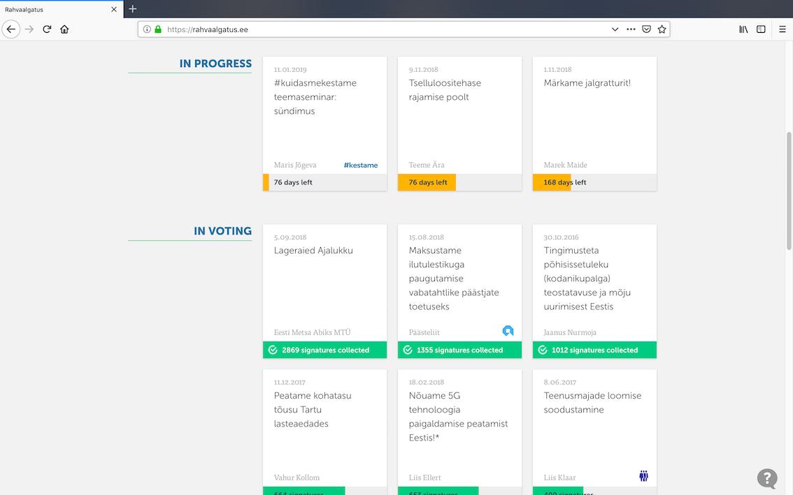 Скриншот с платформы Citizen OS, используемой для демократии участия.