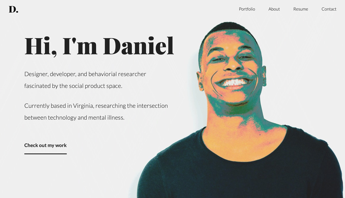 The homepage of Daniel Autry's UX design portfolio website
