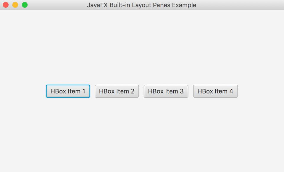 JavaFX HBox Example