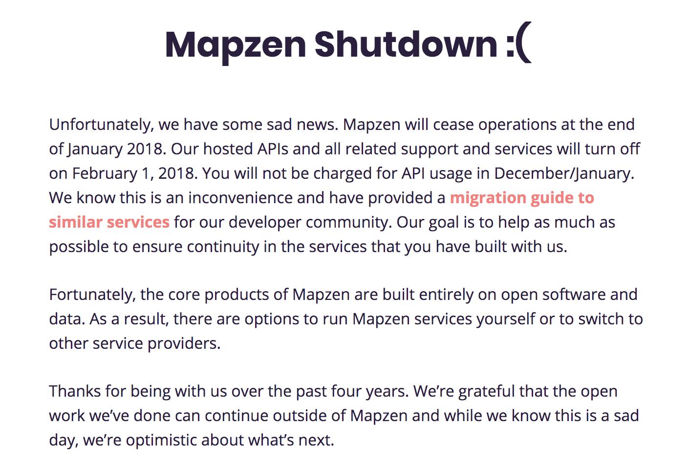 Mapzen Shutdown