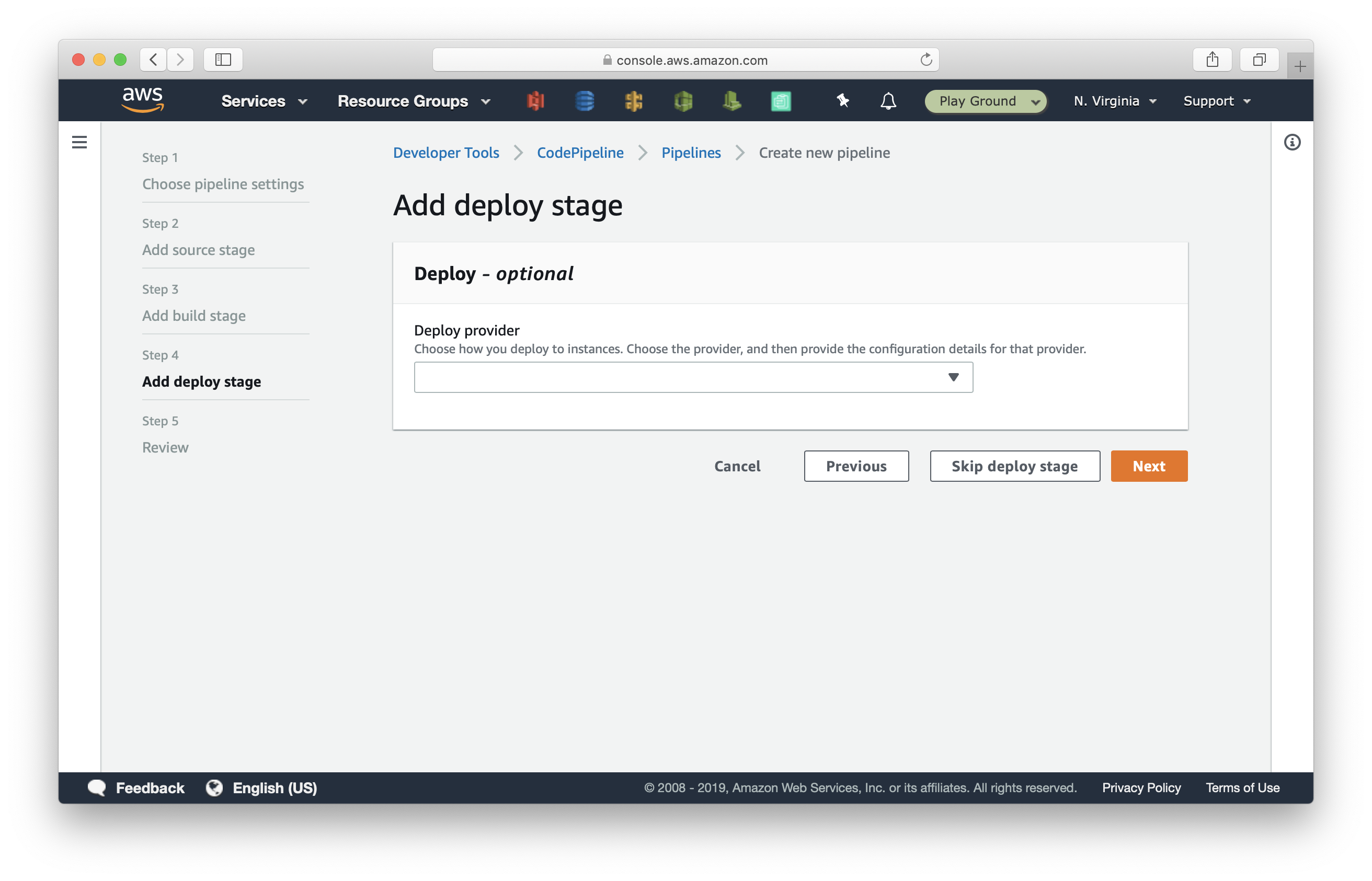 Skip deploy stage in CodePipeline