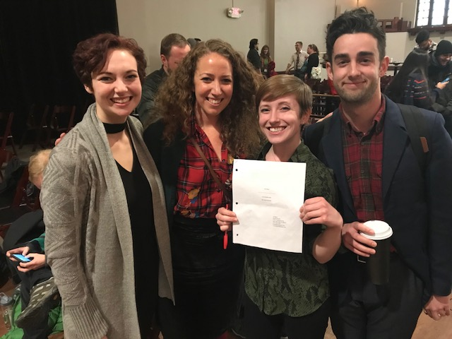 Me and my cast after they nailed the staged reading of MY BODY! From left to right: Chelsey Sheppard, myself, Corinne Landy, and Micah Smith.