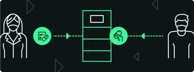 Schématisation de la livraison sécuritaire de prescriptions grâce aux casiers intelligents