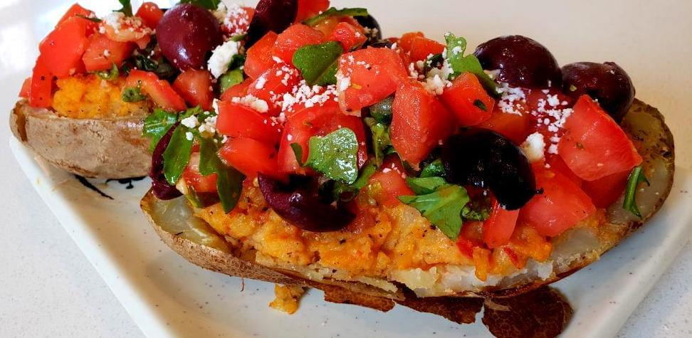 Plate with Mediterranean twice-baked potato