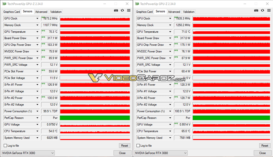 Stability test in TechPowerUP GPU-Z (stock – left, overclocked – right)