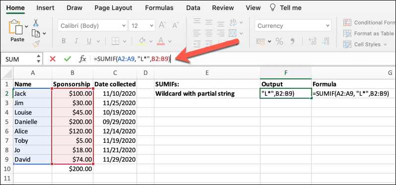 A worksheet in Microsoft Excel with the SUMIF formula being used to determine the sum range