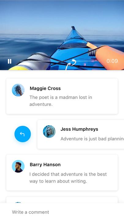 Fiber UI Kit: comments on video screen