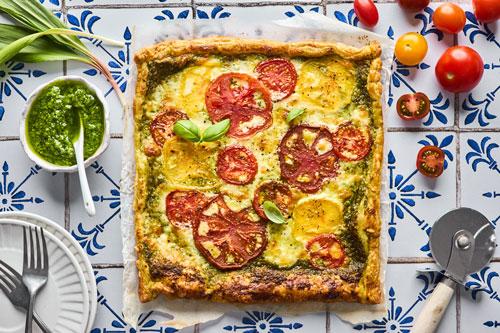 Easy Tomato Pesto Puff Pastry Tart