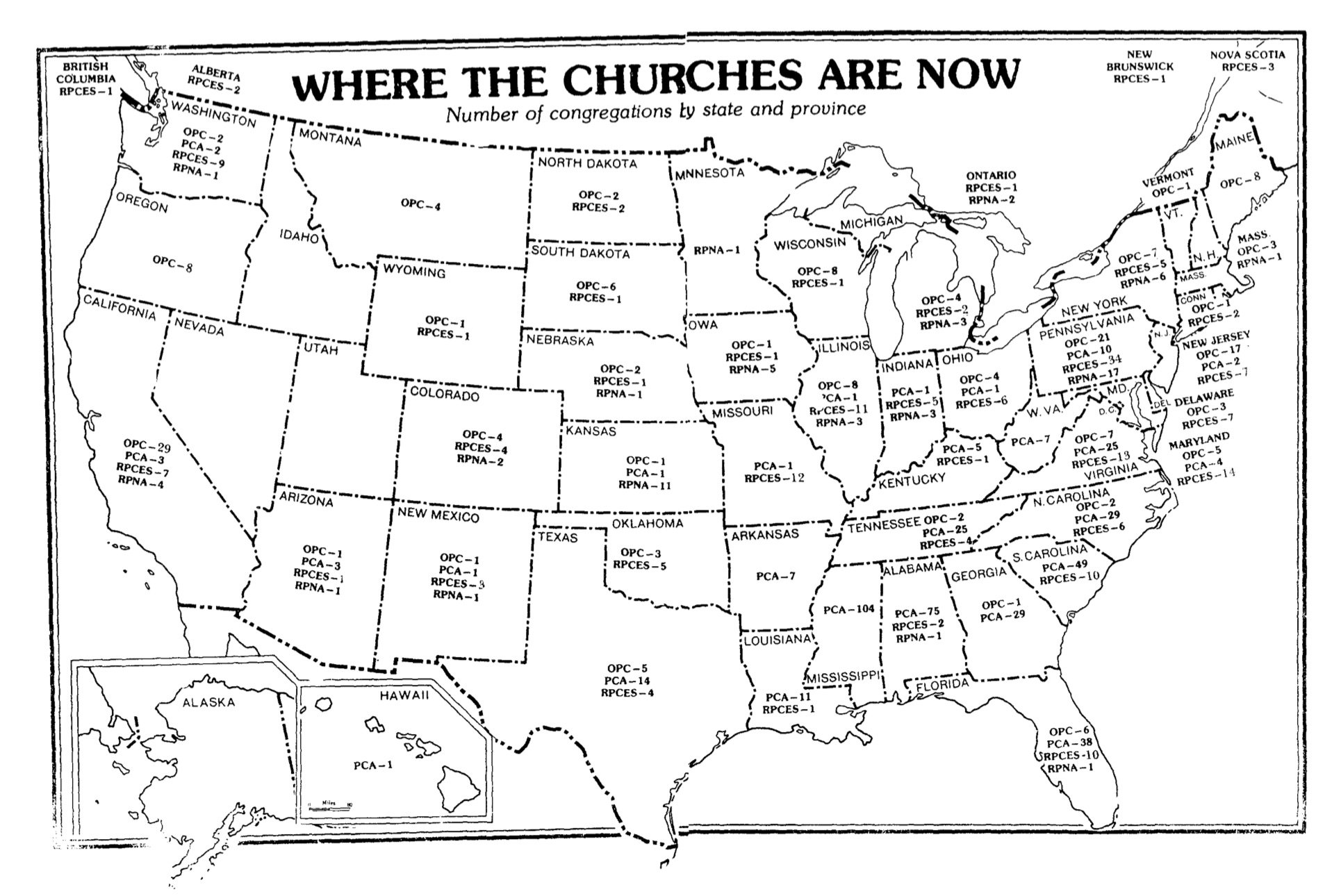 A map of the distribution of PCA, OPC, and RPCES congregations in 1979.