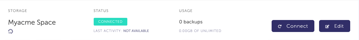 Storage list with newly created DigitalOcean storage