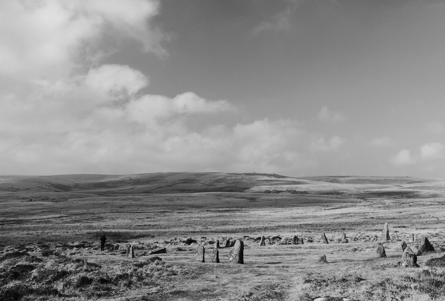 A photograph of the Dartmoor landscape