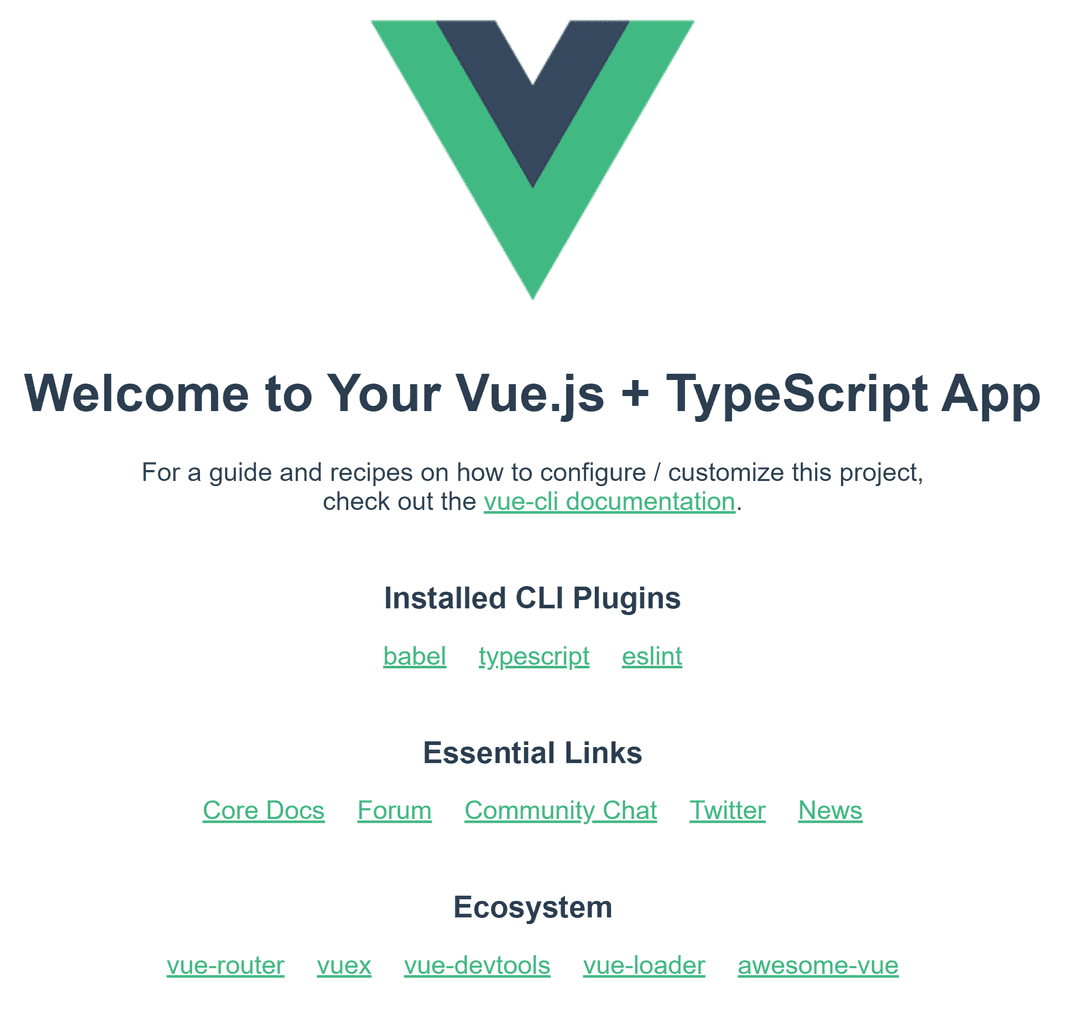 Default page of a Vue CLI project