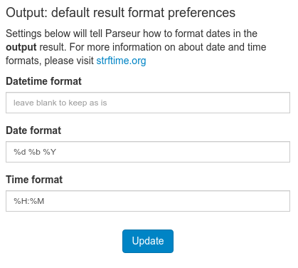 The output format preference form