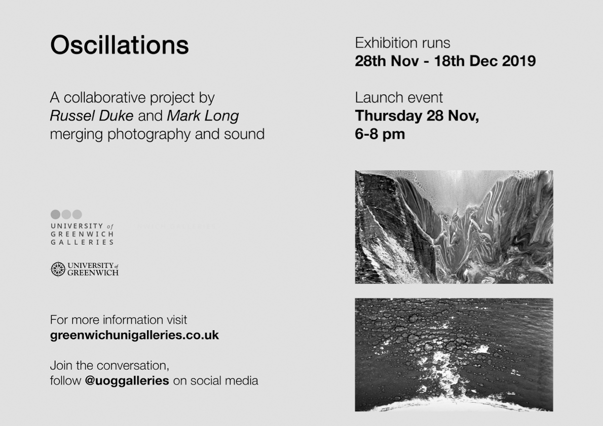 Landscape poster for Oscillations, an exhibition by Russel Duke and Mark Long
