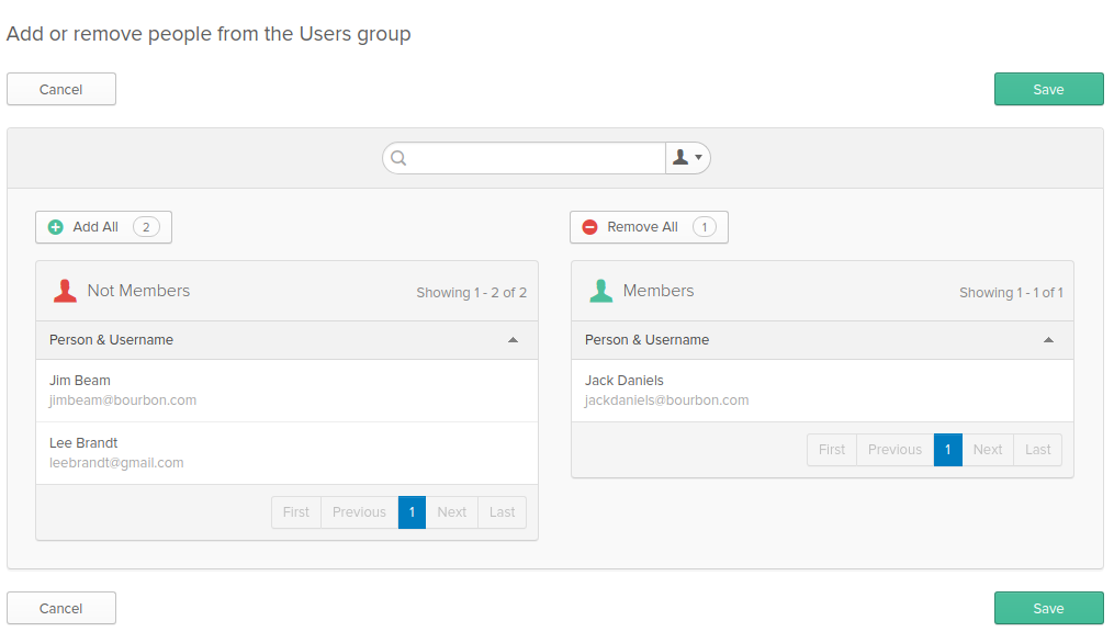 Add User To Group Screen