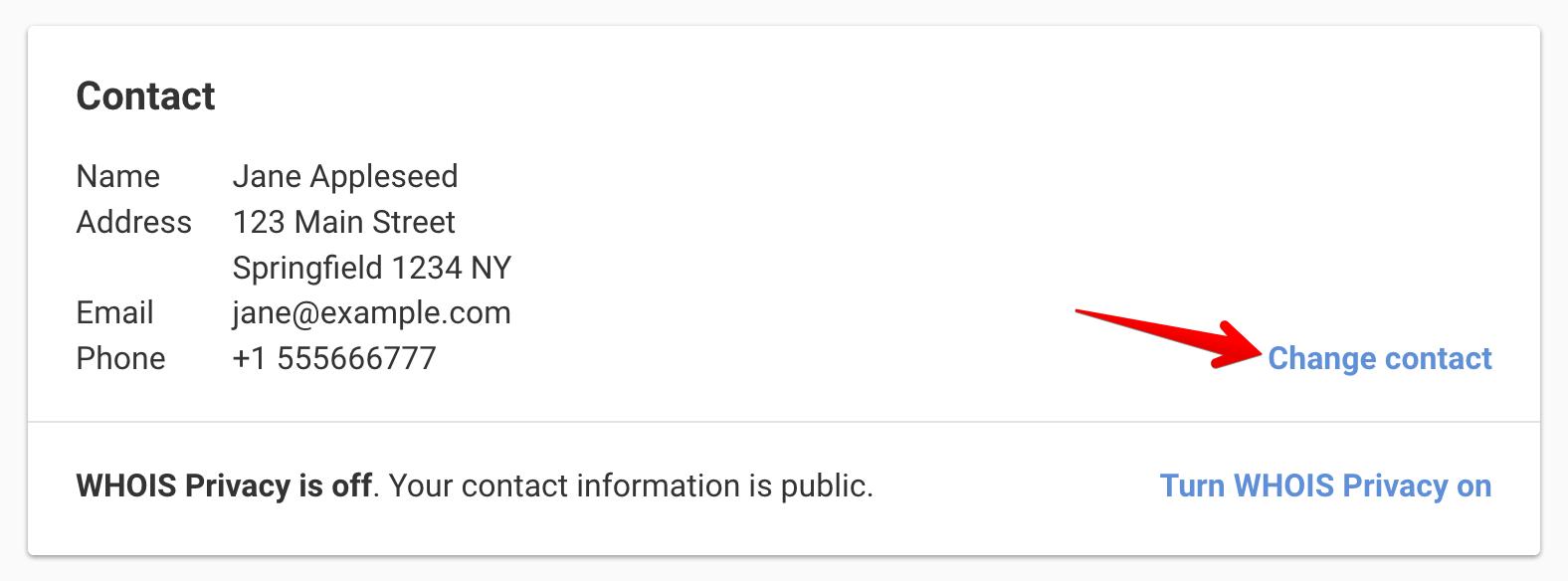 Change domain contact