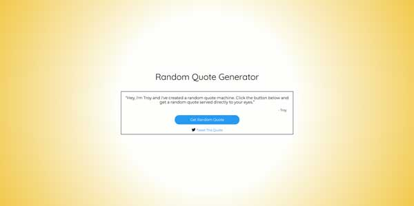 Screenshot of my project Random Quote Generator