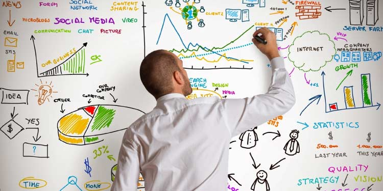 Project manager writing on a whiteboard.
