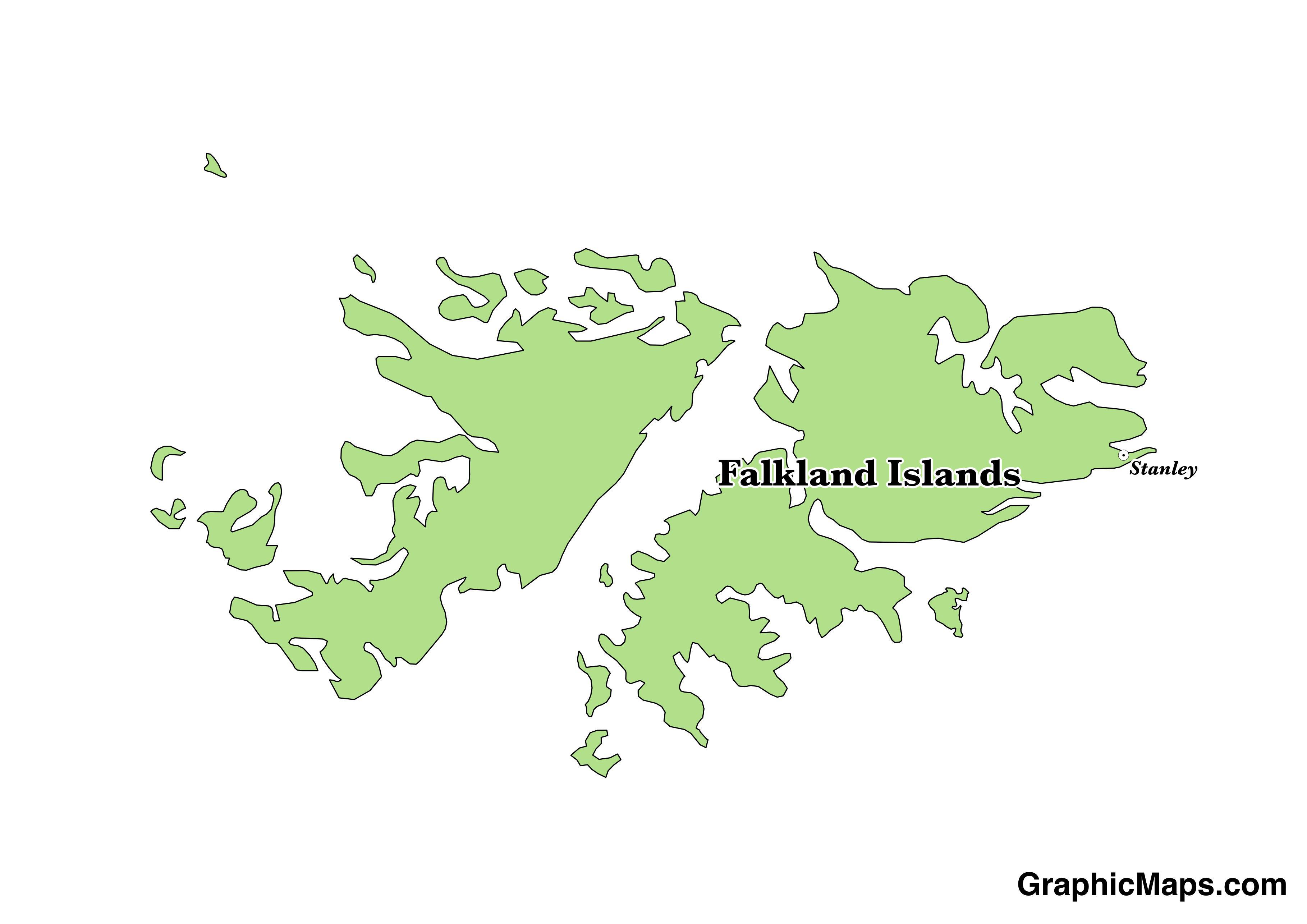 Falkland Islands GraphicMapscom - Falkland islands map
