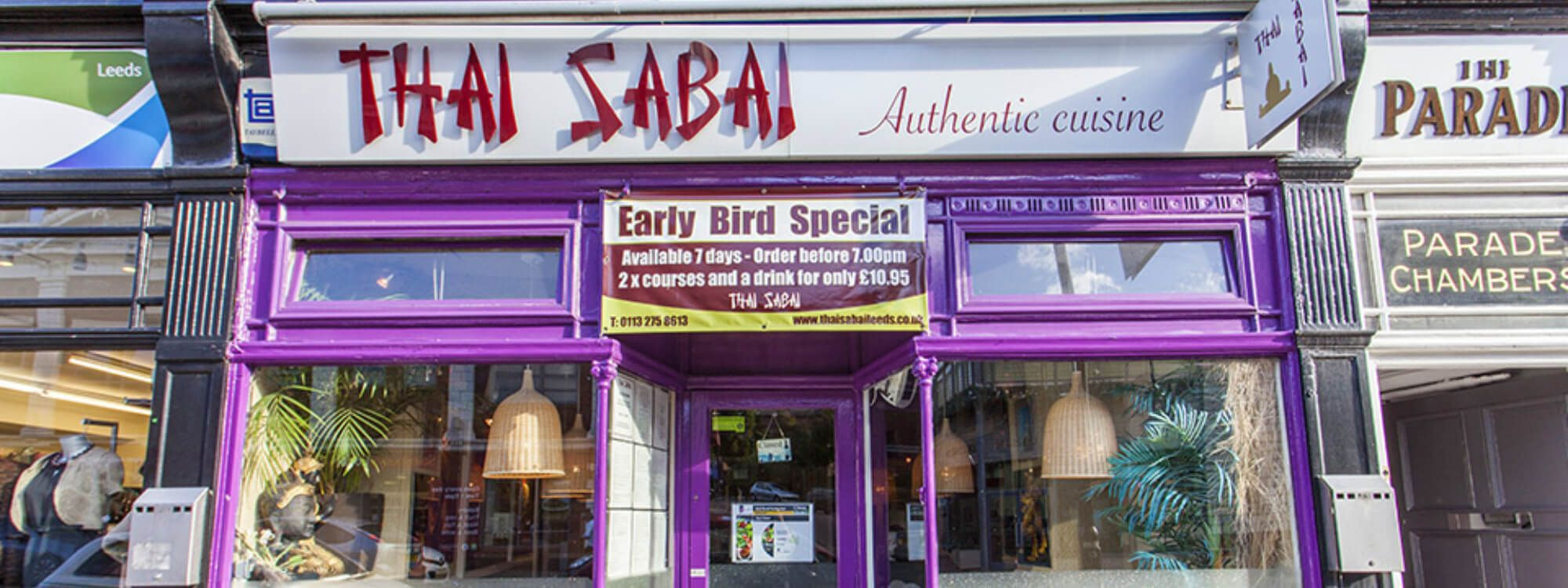 Outside of Thai Sabai on Headingley Highstreet