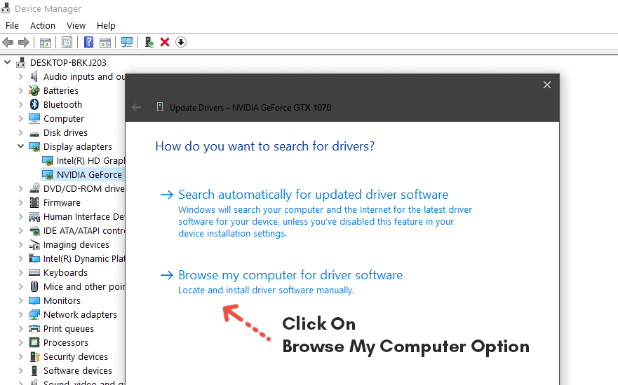 click on Browser my computer for driver software