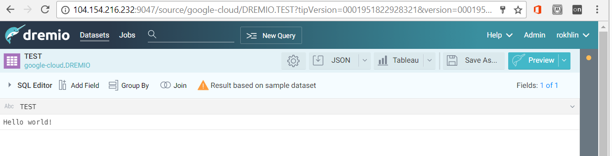 Testing the connection from Dremio to Oracle on Google Cloud Platform
