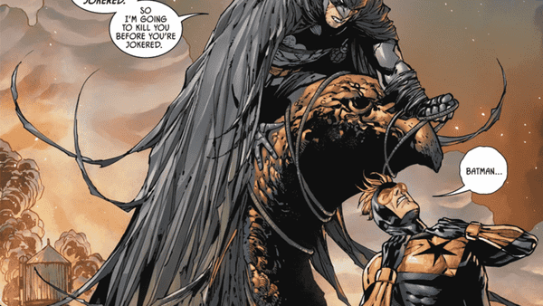 Cena de Batman e Gladiador Dourado O Presente de Tom King