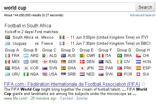 Google World Cup Search Results - Top
