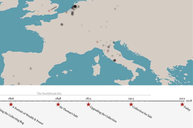 Data visualization with map of Europe and a timeline of key events starred along the bottom edge