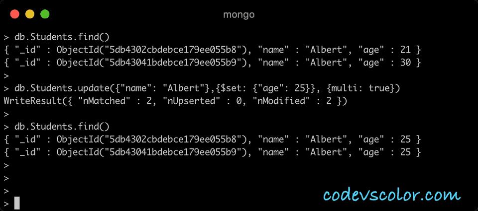 MongoDB update multi document