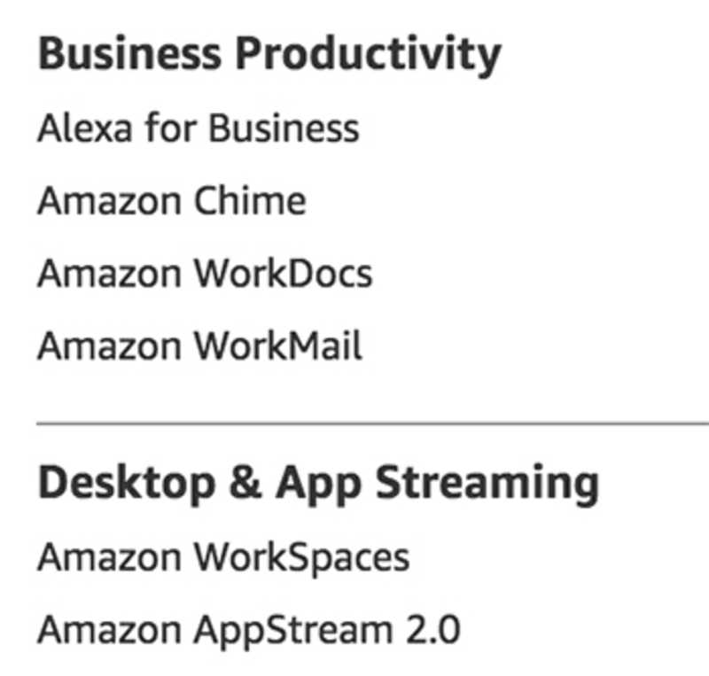 Business Services as listed on aws.amazon.com