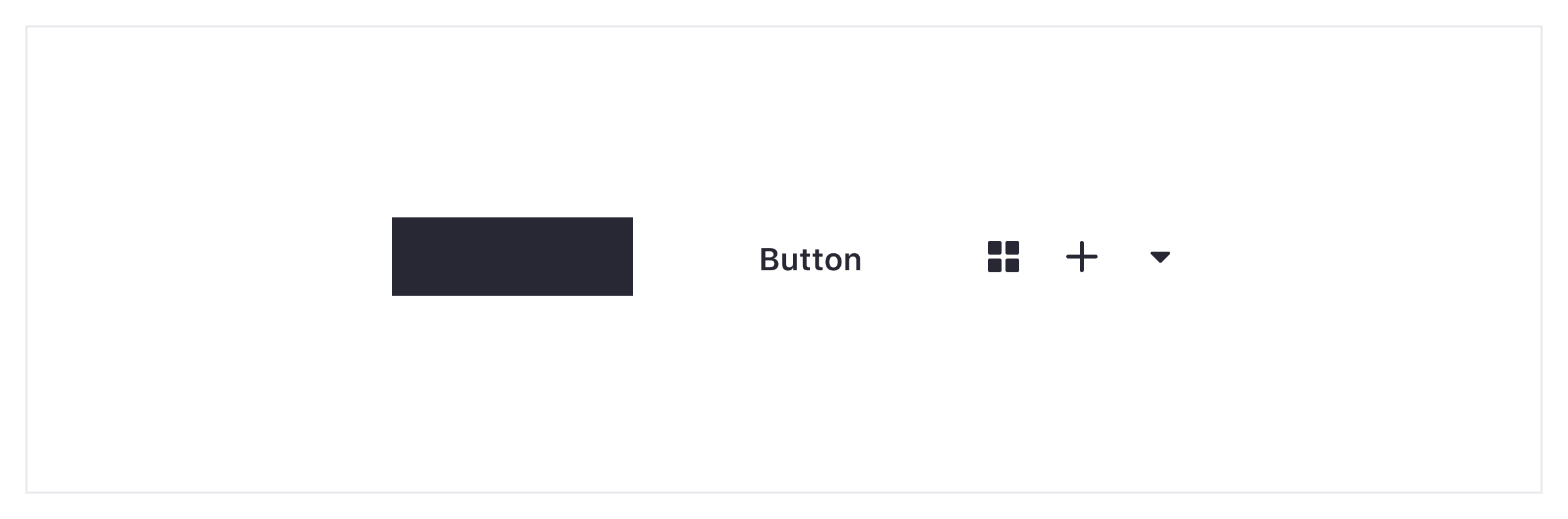 a group of divided elements: a rectangle shape, a button text and 3 icons