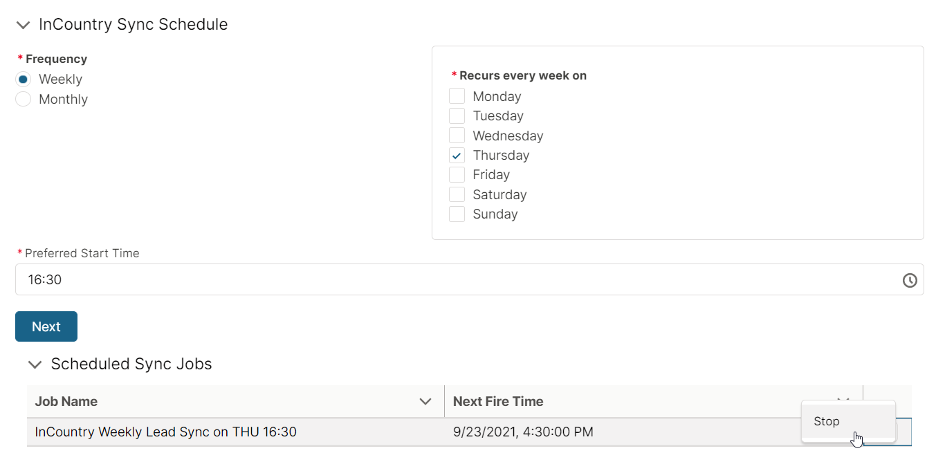 InCountry Sync Schedule complete
