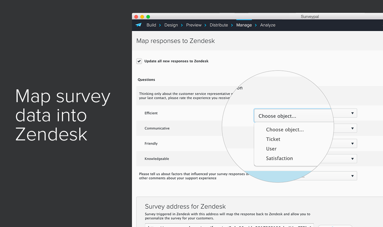 map survey data to Zendesk