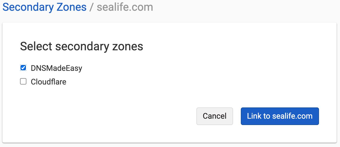 Link Secondary Zone to Primary Server