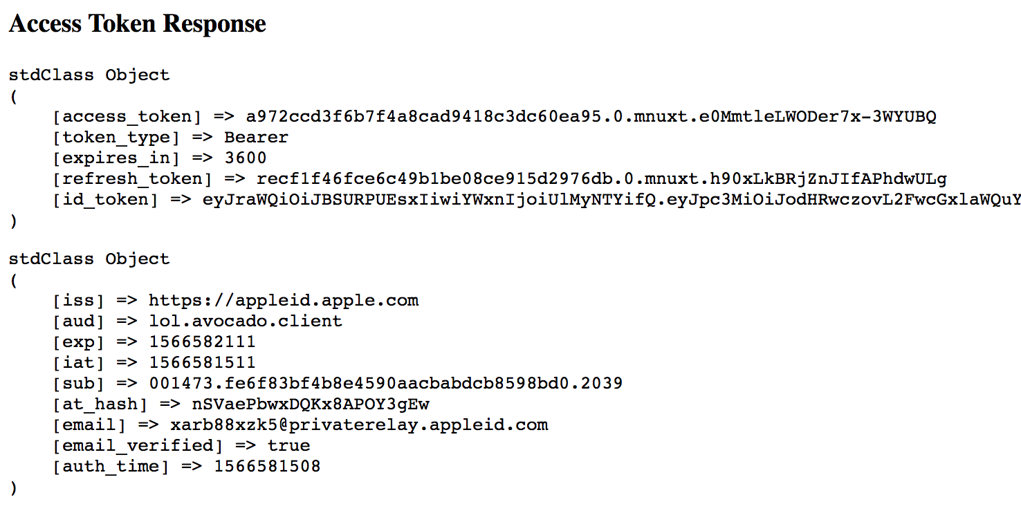 Tokens retrieved from Apple