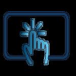 Ícone com uma mão clicando sobre uma tela, indicando início rápido