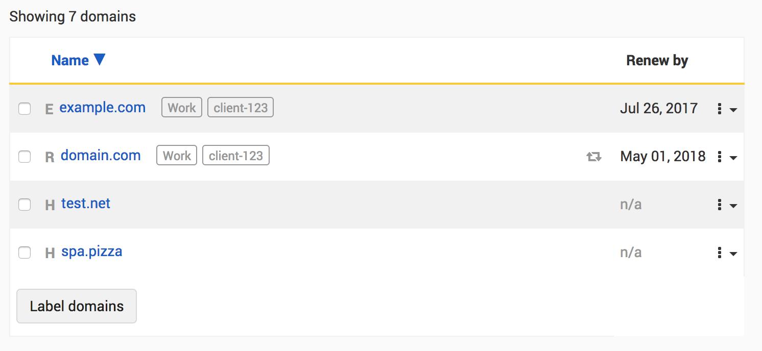 Domain list includes labels