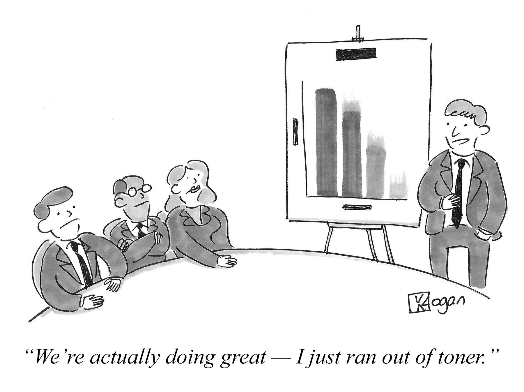 Cartoon about progress towards company goals.