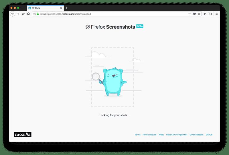 Screenshot of No screenshots have been captured in Firefox Quantum
