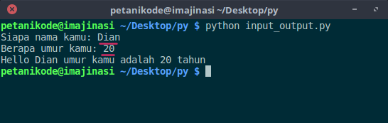 Program Input Output Sederhana