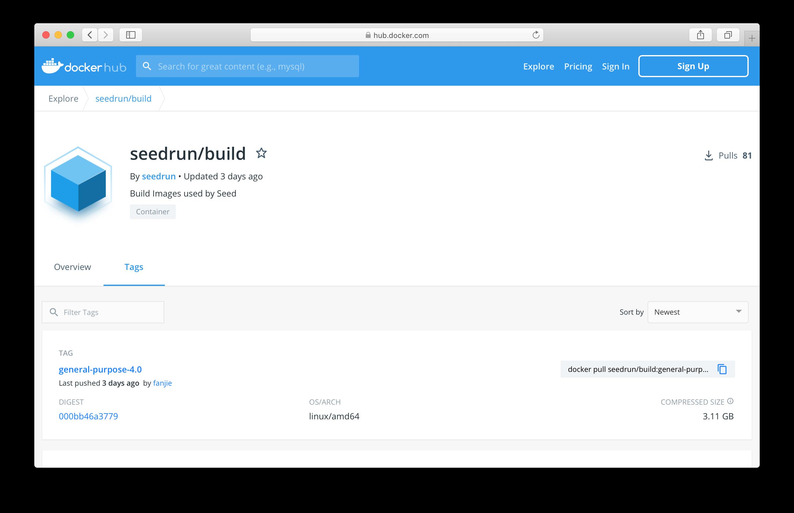 Seed build images in Docker Hub
