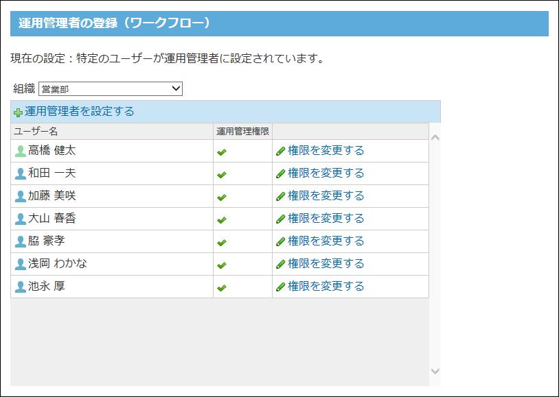 ワークフローの運用管理者の登録画面の画像