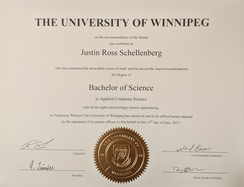 BSc certification for Justin Schellenberg from Univesity of Winnipeg