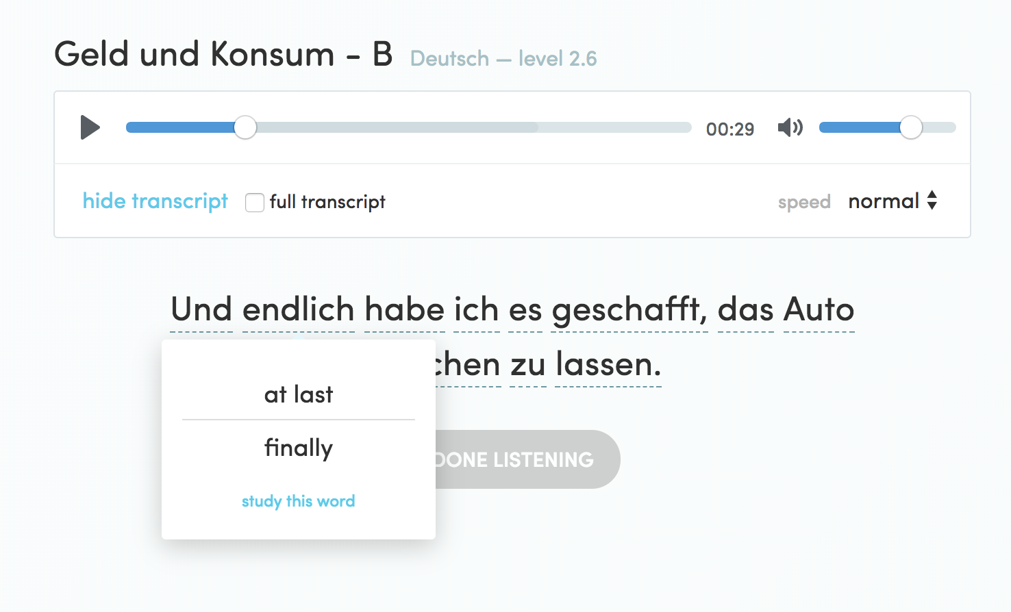 New chatterbug features goals certifications and audio you will now occasionally get audio clips to practice listening to the language you are learning you can listen with or without the transcription xflitez Image collections