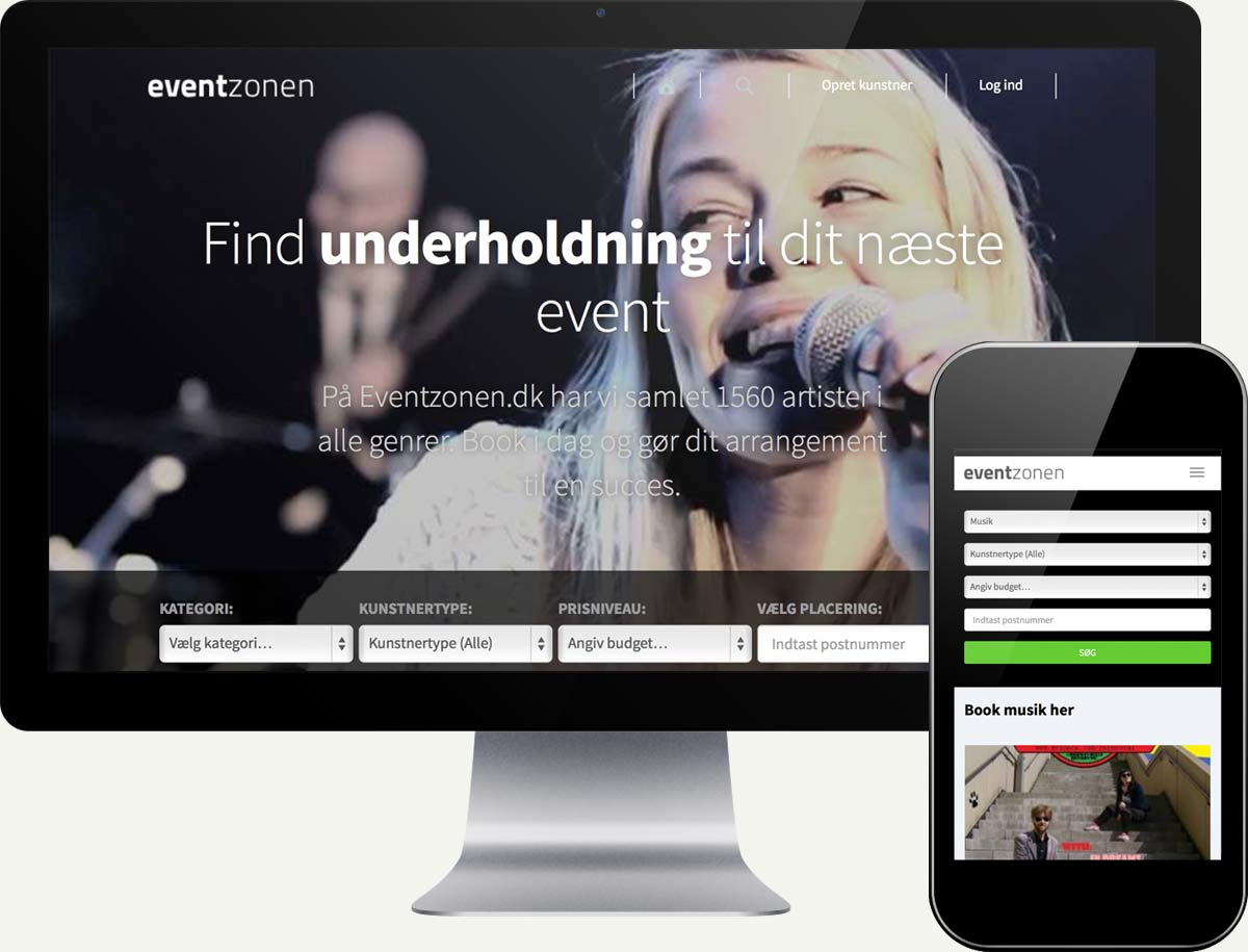 Screenshot of eventzonen.dk