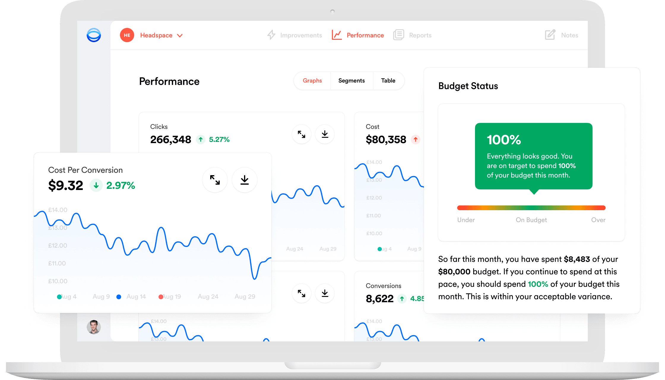 Opteo app screenshot with performance graphs protruding out the screen.