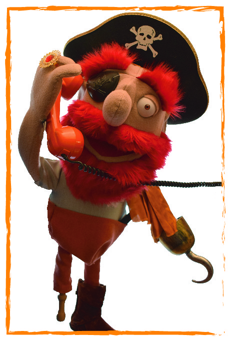 pirate puppet answering the telephone